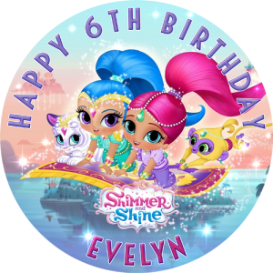 Shimmer and Shine Round Edible Cake Topper #1