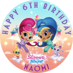 Shimmer and Shine Round Edible Cake Topper #2