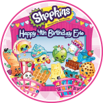 Shopkins Round Edible Cake Topper