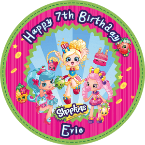 Shopkins Shoppies Round Edible Cake Topper