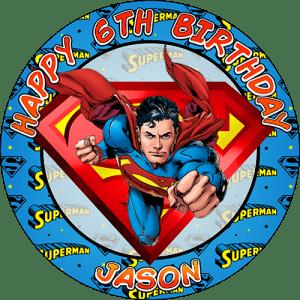 Superman Round Edible Cake Topper