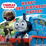 Thomas the Tank Engine Square Edible Cake Topper Plus Personlised With Photo