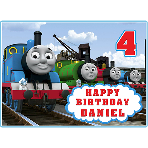 Personalised Thomas The Tank Engine Edible icing Birthday Cake Topper Round