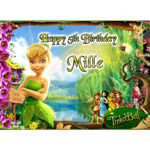 Tinkerbell Fairies Welcome Rectangle Cake Topper