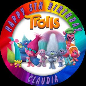 Trolls Round Edible Cake Topper