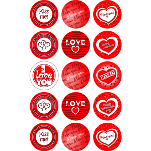Valentines Day Edible Cupcake Toppers #2