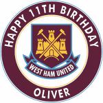 West Ham United Football Club Round Edible Cake Topper (A)