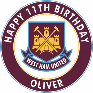 West Ham United Football Club Round Edible Cake Topper (A)