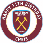 West Ham United Football Club Round Edible Cake Topper (B)