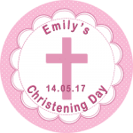 Girl Christening Round Edible Cake Topper