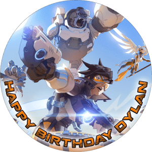 Overwatch Round Edible Cake Topper