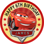 Disney Cars Lightening Mcqueen Round Edible Cake Topper