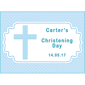 Boys Christening Rectangle Edible Cake Topper