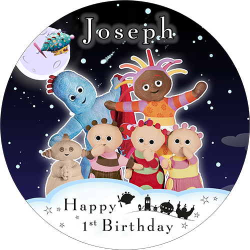 """In the Night Garden Cake  topper 7.5/""""  round pre cut icing"""