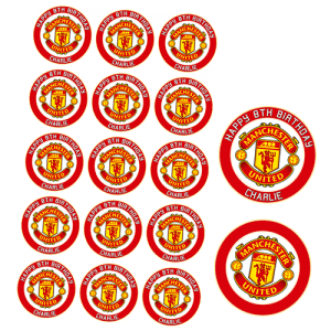 Manchester United Football Club Edible Cupcake Toppers