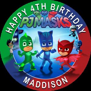 PJ Masks Multicolour Round Edible Cake Topper
