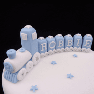 Handmade Blue Train Set with Name Carriages Cake Decoration