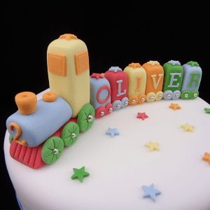 Handmade Coloured Train Set Cake Decoration
