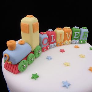 Handmade Coloured Train Set Cake Decoration