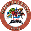 Marvels Heroes Round Edible Cake Topper