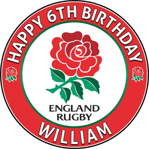 England Rugby Team Round Edible Cake Topper