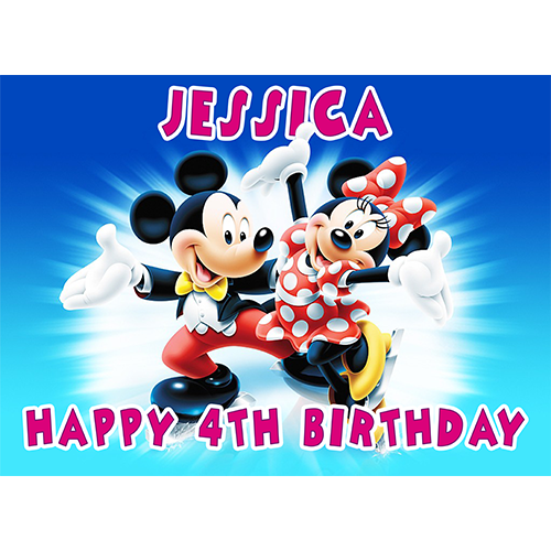 Its A Boy Mickey Disney Baby Personalised Name Kids Edible Cupcake Cake Toppers
