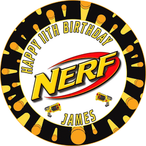 Nerf Round Edible Cake Topper