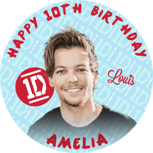 One Direction Louis Round Edible Cake Topper