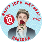 One Direction Naill Round Edible Cake Topper