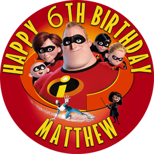 Incredibles Round Edible Cake Topper