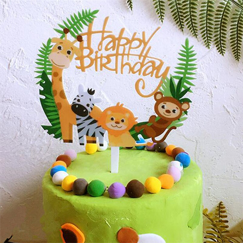 Tremendous Wild Animal Acrylic Happy Birthday Cake Topper Party Decoration Funny Birthday Cards Online Alyptdamsfinfo