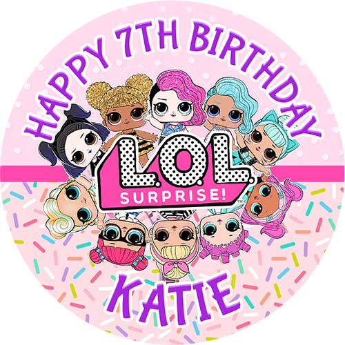 """LOL Surprise Dolls Personalised 10/"""" x 8/"""" Cake topper on icing or wafer paper"""
