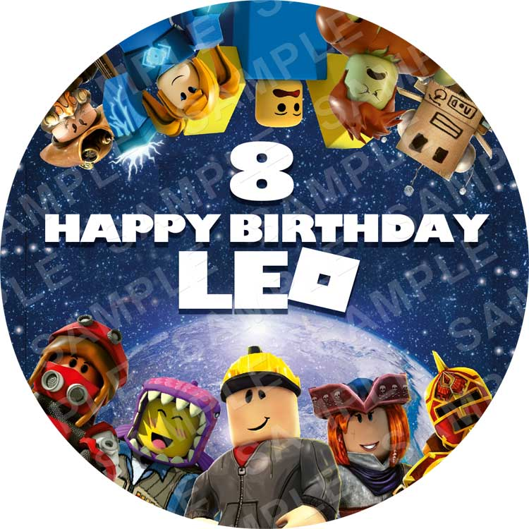 """ROBLOX PERSONALISED 8/"""" CAKE TOPPER EDIBLE ROUND PRINTED TOPPER #1"""